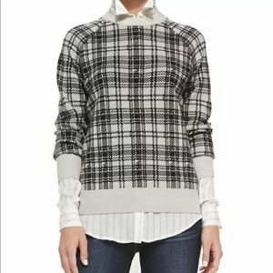 Haute Hippie Merino Plaid Houndstooth Sweater